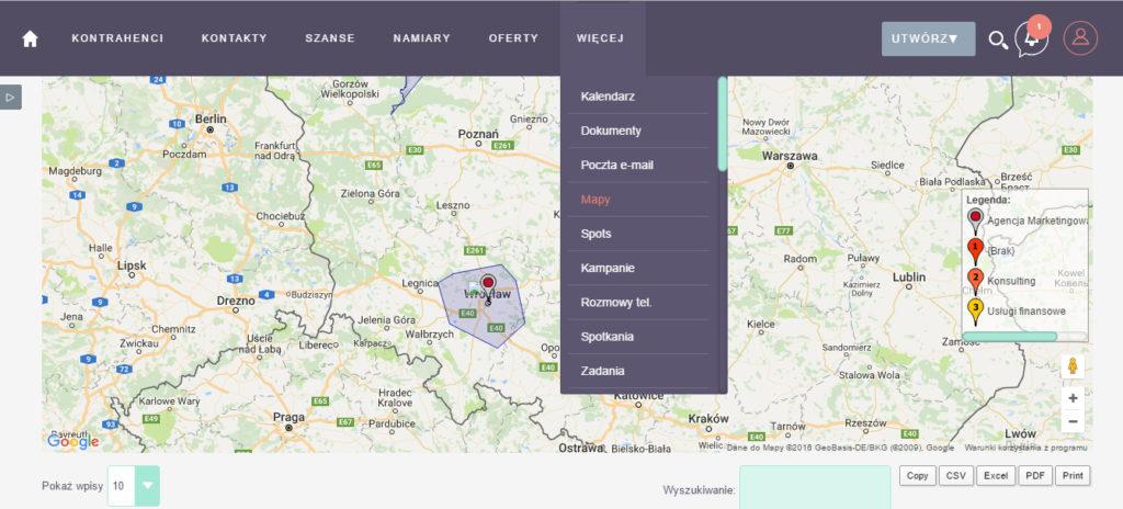 mapy wSuiteCRM